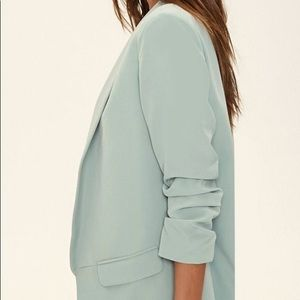 Forever21 Shawl Collar Open-Front Blazer Sage S